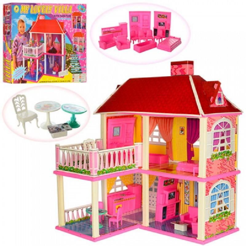 Домик Большой двухэтажный для кукол 6980 16см с мебелью и аксессуарами