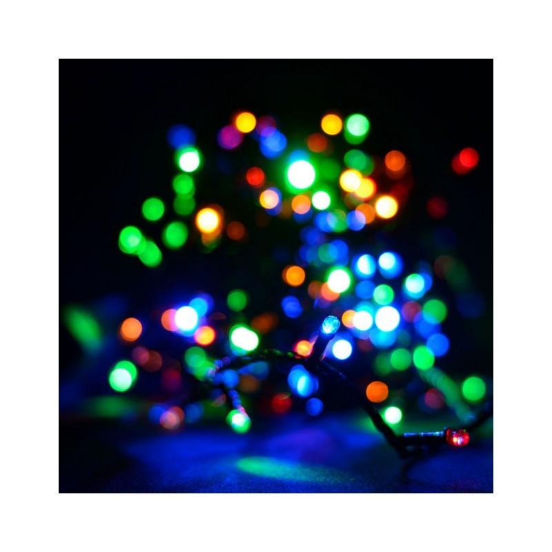 Гирлянда линза 200 LED 16м разноцветная на черном проводе 5mm