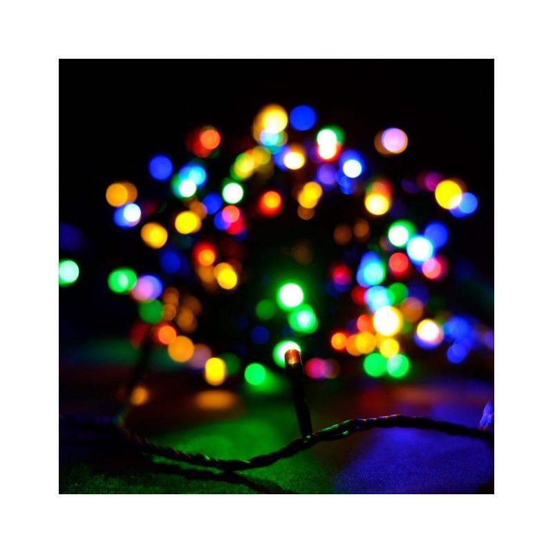 Гирлянда линза 300 LED 23м разноцветная на черном проводе 5mm