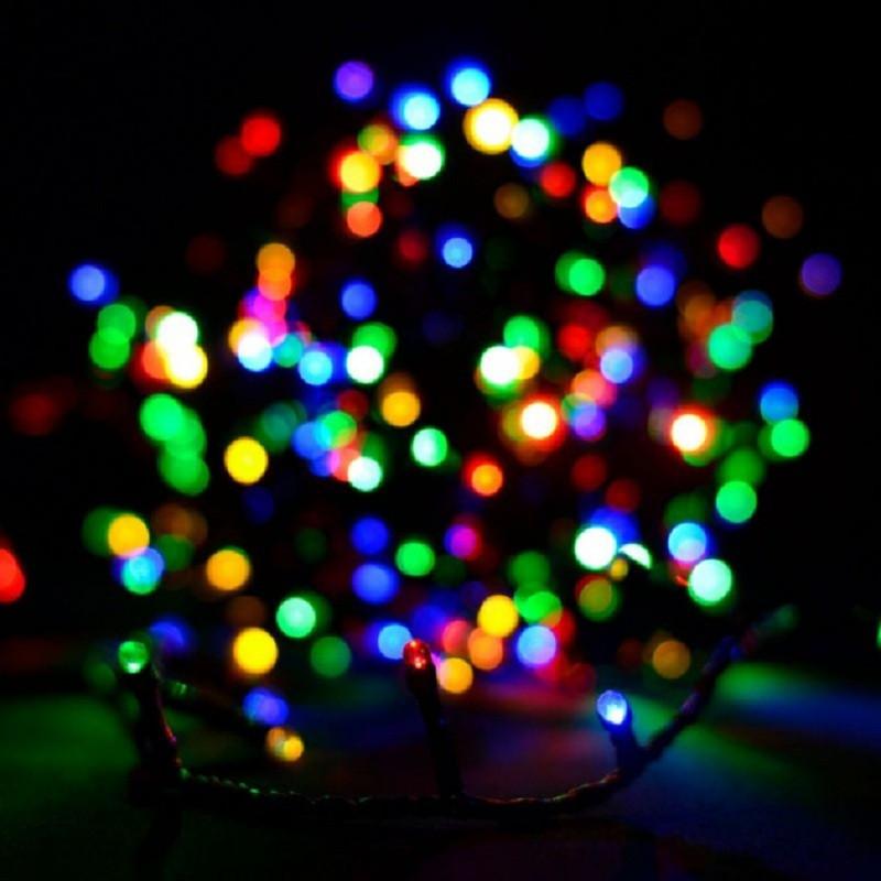 Гирлянда линза 500 LED 36м разноцветная на черном проводе 5mm