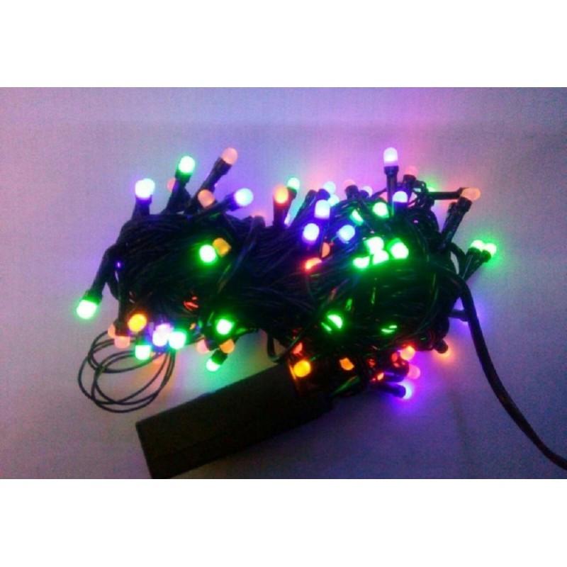 Гирлянда матовая 500 LED 40м на черном проводе разноцветная 5mm