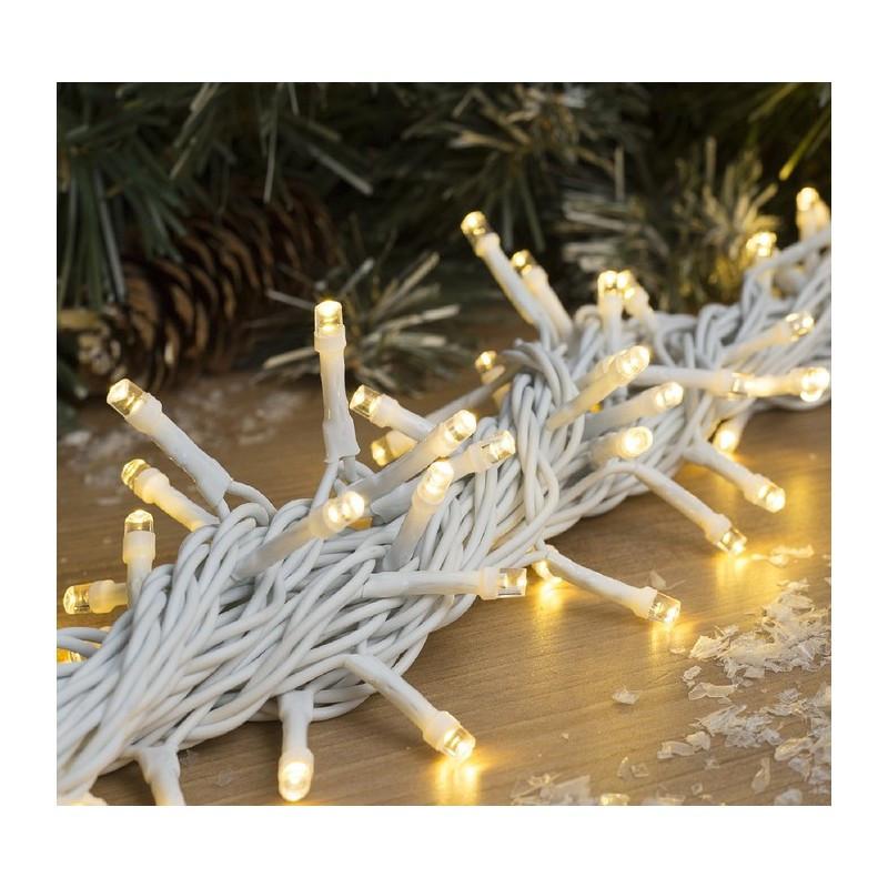 Гирлянда профессиональная светодиодная нить 100 LED 10м на белом проводе уличная цвет теплый белый