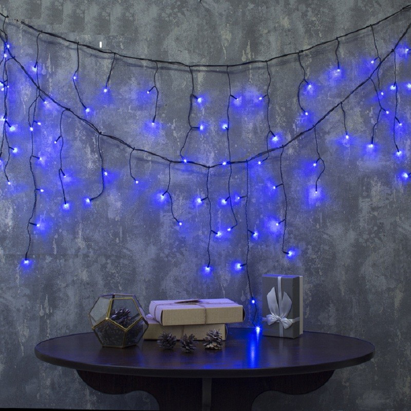 Гирлянда Бахрома матовая (сосулька-штора) 120 LED 3м 5mm на черном проводе синий цвет