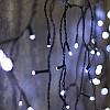 Гирлянда Бахрома матовая (сосулька-штора) 120 LED 8mm на черном проводе белый цвет, фото 2