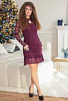 Бордовое  нарядное женское гипюровое платье ЛЕРА. Арт-7509/7, фото 1