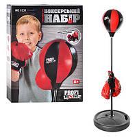 Боксерский набор MS 0331 (12шт) груша(д20см),на стойке(от90до110см),перчатки2шт,в кор-ке,48-38-8см