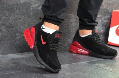 c6fc9392 Мужские зимние кроссовки Nike Air Max 270 Black Red (в стиле Найк Аир Макс)  замшевые с мехом