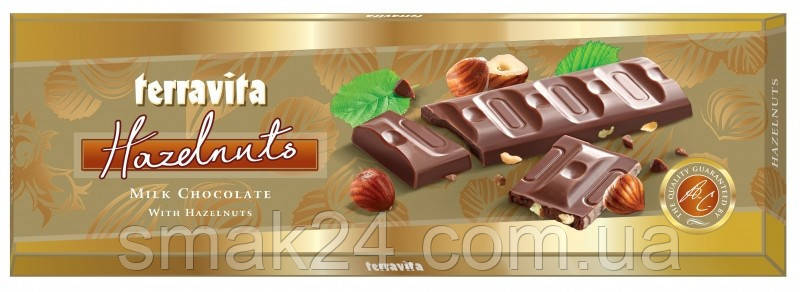 Молочный шоколад Terravita с лесным орехом 225 г Польша