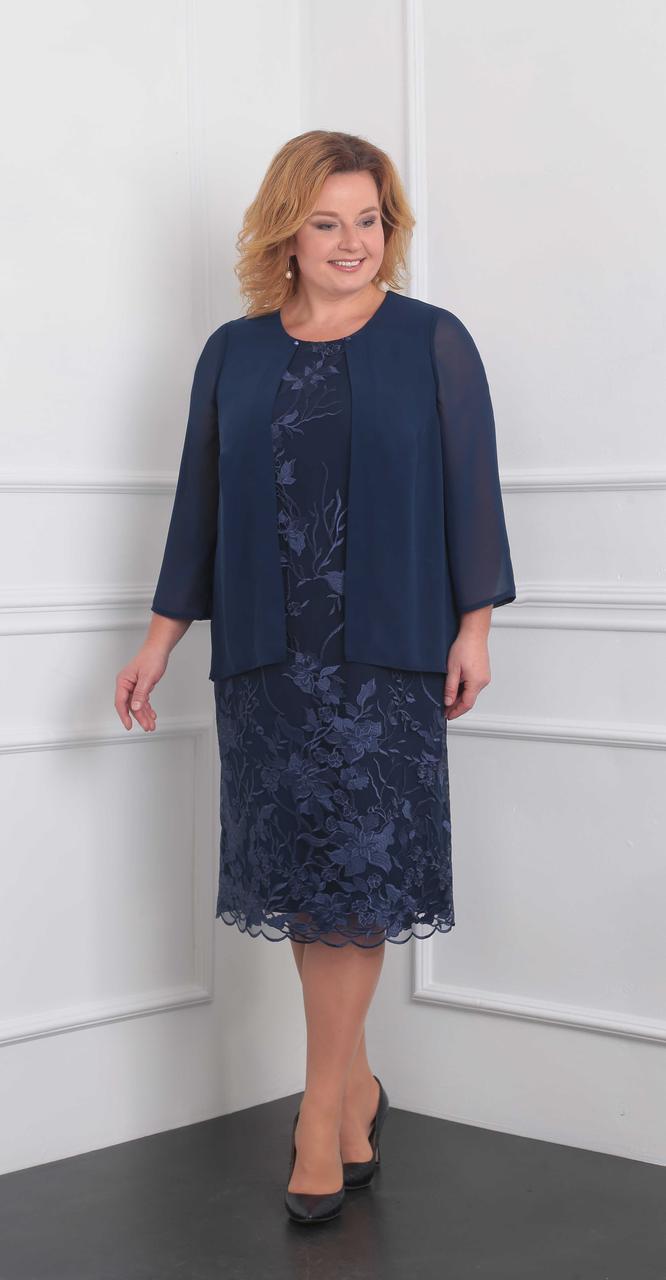 Платье Орхидея люкс-905 белорусский трикотаж, темно-синий, 60