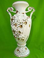 Керамическая напольная ваза «Флорентина» белая (лепка)