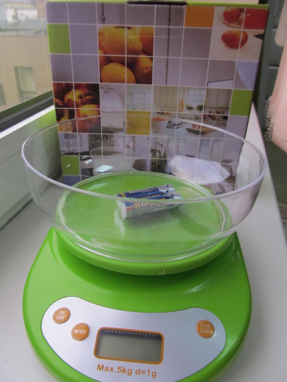 Весы кухонные электронные с чашей, до 5 кг.