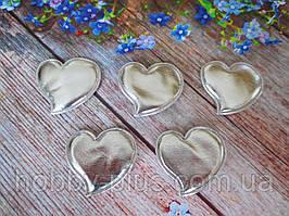 """Аппликация, патчи """"Сердце глянец"""", цвет серебро, 46х46 мм, 1 шт."""