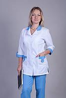 Медицинский костюм габардин белый верх голубой низ