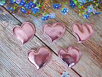 """Аппликация, патчи """"Сердце глянец"""", цвет розовый, 46х46 мм, 1 шт."""