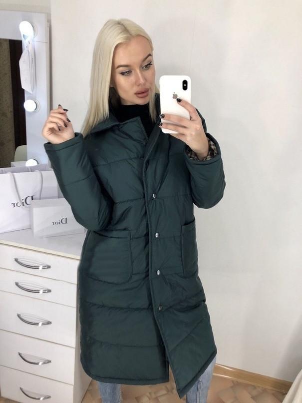 2b0f15312fd Женская длинная куртка осень   весна с карманами синтепон 200 ...