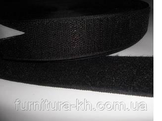 Липучка(Текстильная застёжка) 2.5 см черная в рулоне 25 метров
