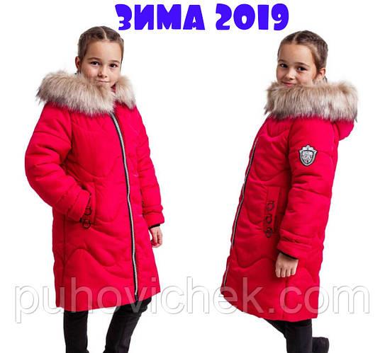 Красивая зимняя курточка для девочки с мехом на капюшоне яркая