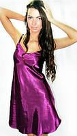 Атласный Пеньюар Bluz, ночная сорочка, ночная рубашка оптом и врозницу дешево. Ночная сорочка фиолетовая .