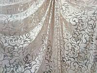 """Тюль штора органза с тканевым принтом """"Adel"""" кремовая, высота 3 м, фото 1"""