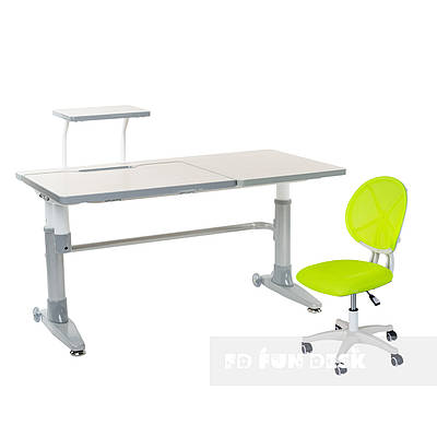 Комплект подростковая парта для школы Ballare Grey + детское кресло для школьника LST1 Green FunDesk