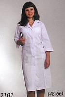Женский медицинский халат батист в белом цвете