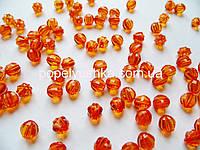 Намистини круглі, грановані, Оранжеві 8 мм (20 шт.)