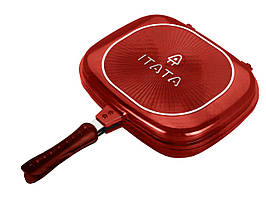 Двойная сковорода гриль ITATA, 32 см. - Красная, форма - квадратная, с доставкой по Киеву и Украине