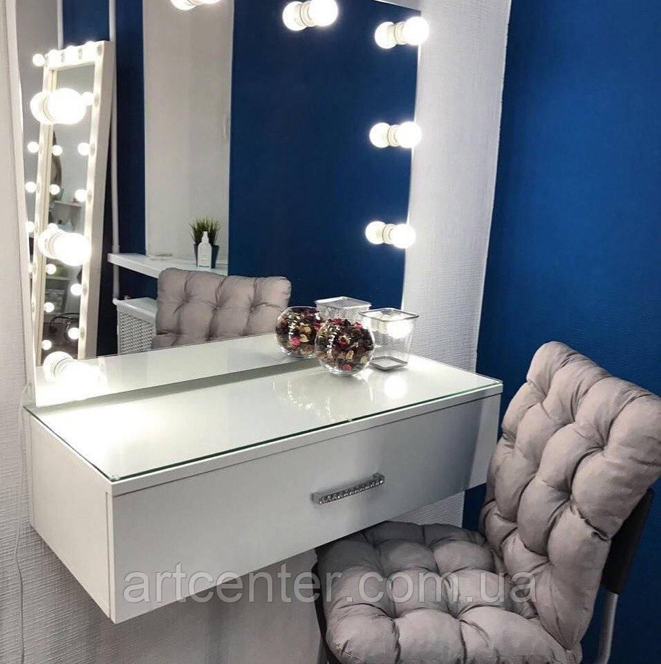 Навесной визажный стол, белый гримерный стол с зеркалом