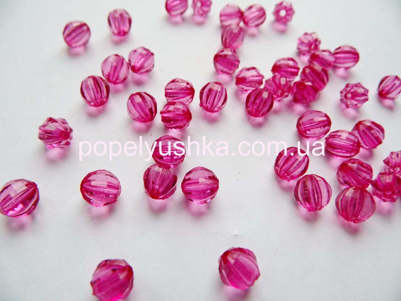 Намистини круглі, грановані. акрил Рожеві 6 мм (50 шт.)