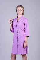 Красивый медицинский халат сиреневый с карманами батист