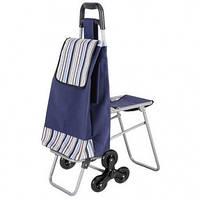 Складная хозяйственная сумка на колесиках, тележка, кравчучка, со стульчиком