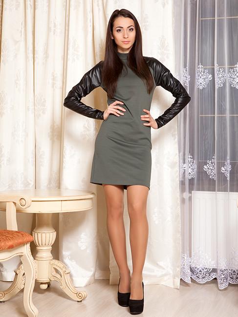 Платье с кожаными рукавами (XS-L)