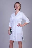 Стильный медицинский халат женский в белом цвете на молнии