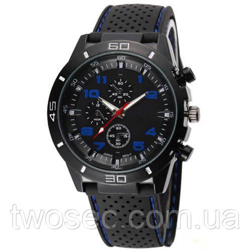 Часы мужские наручные кварцевые водонепроницаемые противоударные 4QKQ черные, синие, черно-синие