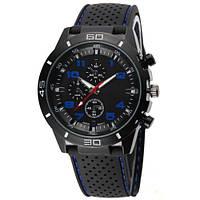 Часы мужские наручные кварцевые водонепроницаемые противоударные 4QKQ черные, синие, черно-синие, фото 1