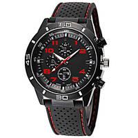 Часы мужские наручные кварцевые водонепроницаемые противоударные 4QKQ черные, красные, черно-красные