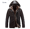 Чоловіча зимова шкіряна куртка на хутрі. (01258)