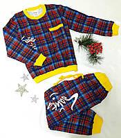 Пижама детская в клеточку, на байке, размер 116-140, красный
