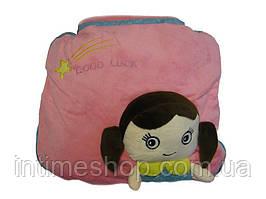 Плед, подушка для детей 3 в 1 (подушка трансформер) - розовый с девочкой