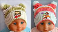 Детская шапка Ушки, весна, 1 слой+отворот.