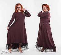 Женское длинное платье с кружевом внизу, фото 1