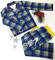 Пижама детская в клеточку на пуговицах, байка, размер 116-140, синий+желтый