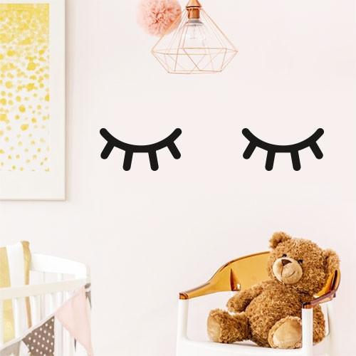 Виниловая интерьерная наклейка на обои Спящие глазки (наклейки на стены, декор детской, глаза)