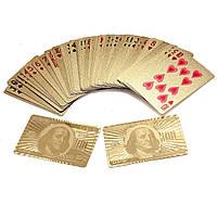 """Покерные пластиковые игральные карты с позолотой """"Доллар"""", колода 54 шт., с доставкой по Киеву и Украине"""
