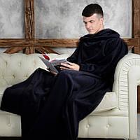 Плед с рукавами Snuggie Снагги флисовый - чёрный
