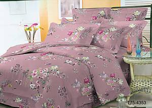 Постельный комплект с розовым цветочным принтом из полиэстера