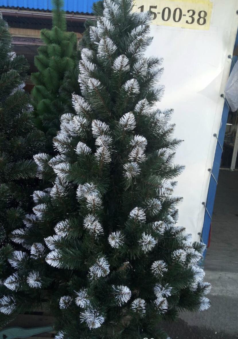"""Новорічна ялинка """"Лідія"""" зелена з білими кінчиками 2 м"""