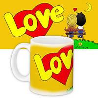 Кружка с принтом Love is 330 мл желтая (KR_L128)
