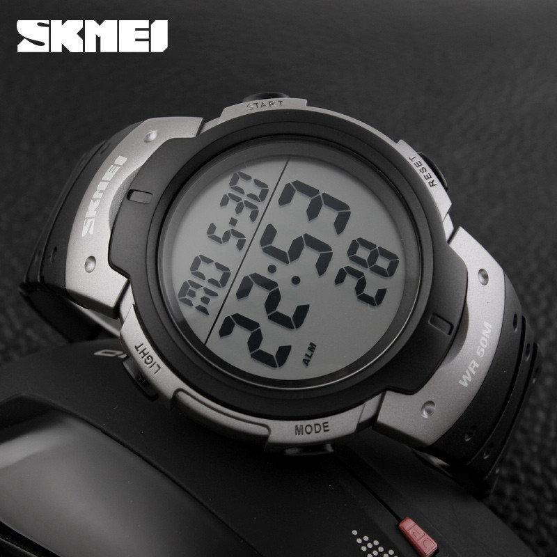 Skmei 1068 серые мужские спортивные часы