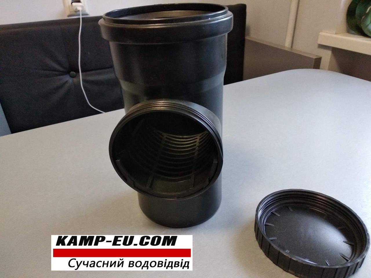 Ревизия с сеткой 110мм для водосточной трубы с крыши Черная